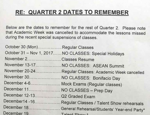 Quarter 2 Dates to Remember